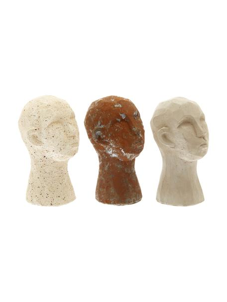 Set 3 oggetti decorativi Figure Head, Cemento, Multicolore, Ø 9 x Alt. 15 cm
