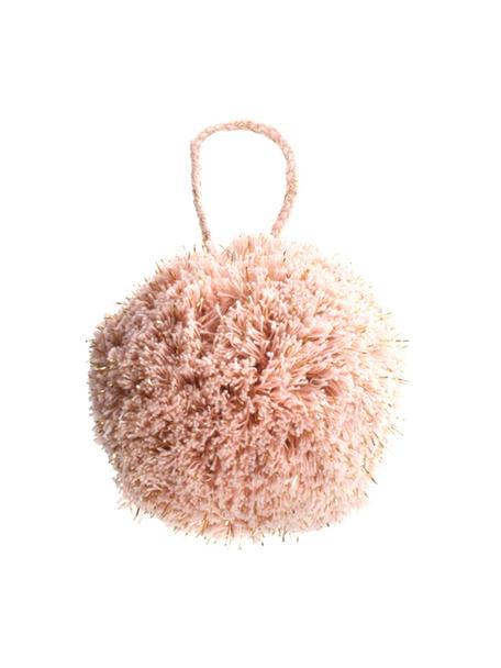 Baumanhänger Pompon, 2 Stück, Baumwolle mit Lurexfaden, Rosa, Goldfarben, Ø 8 x H 14 cm