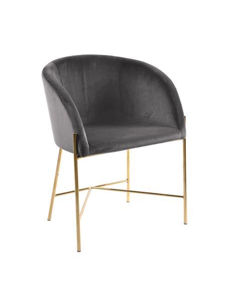 Krzesło tapicerowane z podłokietnikami z aksamitu Nelson, Tapicerka: aksamit poliestrowy Dzięk, Nogi: metal mosiądzowany, Aksamitny ciemny szary, nogi złoty, S 56 x G 55 cm