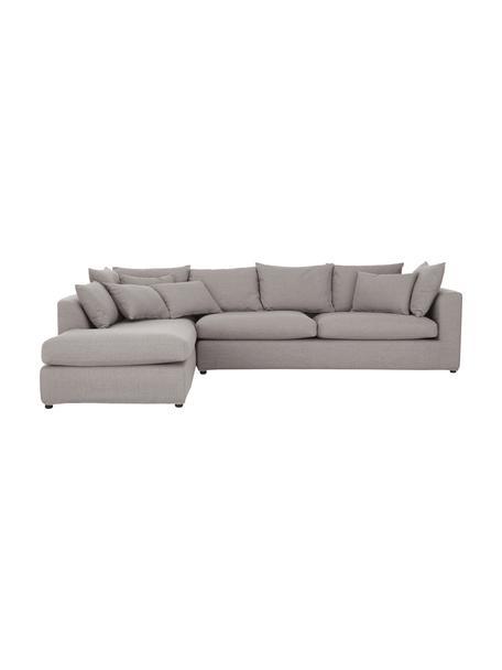 Duża sofa narożna Zach, Tapicerka: polipropylen Dzięki tkani, Nogi: tworzywo sztuczne, Taupe, S 300 x G 213 cm