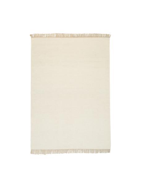 Tappeto in lana tessuto a mano con frange Rainbow, Frange: 100% cotone, Bianco naturale, Larg. 170 x Lung. 240 cm (taglia M)
