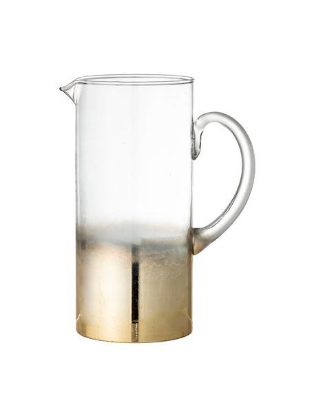 Karaffe Iska aus Glas mit goldenen Details, 1.5 L, Glas, Transparent, Messingfarben, 18 x 24 cm