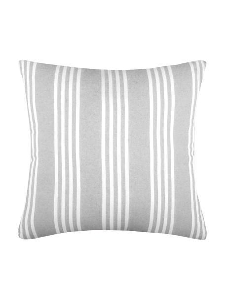 Cuscino a righe con imbottitura Mandelieu, Cotone misto, Grigio chiaro, bianco, Larg. 50 x Lung. 50 cm
