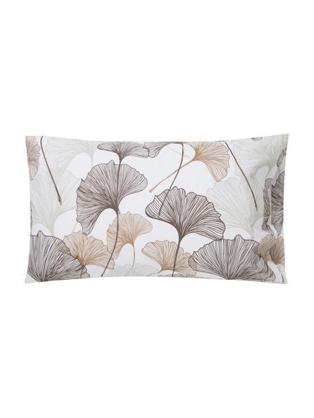 Fundas de almohada Ginko, 2uds., Algodón, Blanco, gris pardo, beige, An 50 x L 80 cm