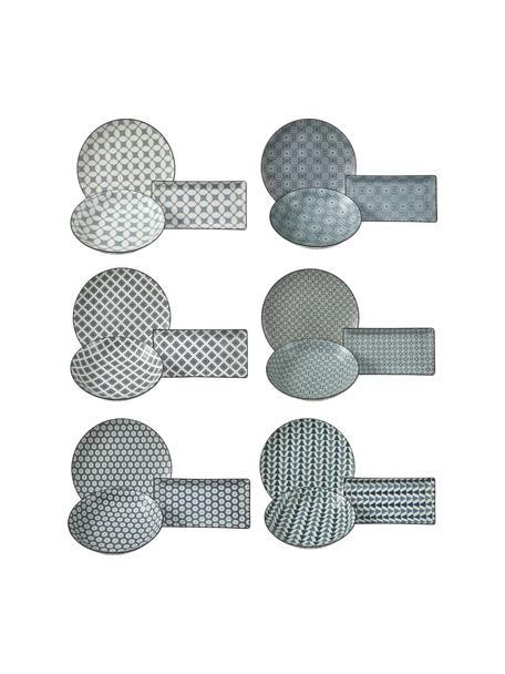 Komplet naczyń Double, 18 elem., Kamionka, Ciemnyniebieski, biały, Komplet z różnymi rozmiarami
