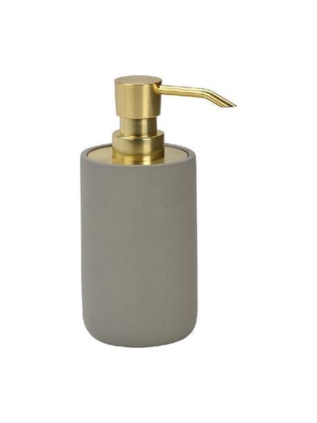 Dosificador de jabón Callin, Recipiente: cemento, Dosificador: plástico, Gris, dorado, Ø 7 x Al 17 cm
