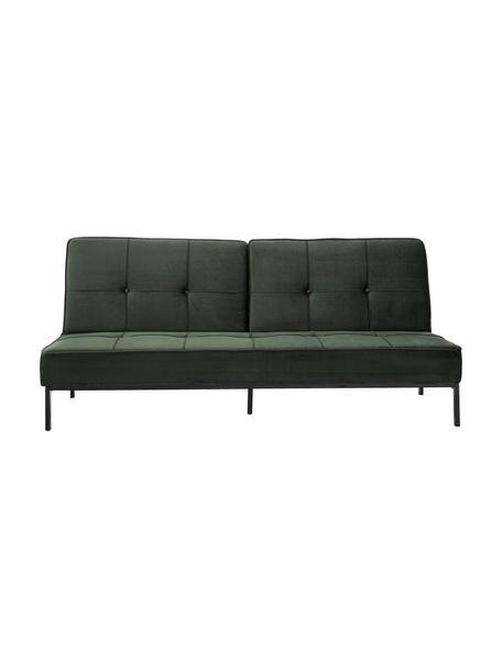Samt-Schlafsofa Perugia in Grün mit Metall-Füßen, ausklappbar, Bezug: Polyester Der hochwertige, Füße: Metall, lackiert, Samt Grün, B 198 x T 95 cm