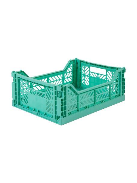 Klappkiste Mint, stapelbar, medium, Recycelter Kunststoff, Mintgrün, 40 x 14 cm