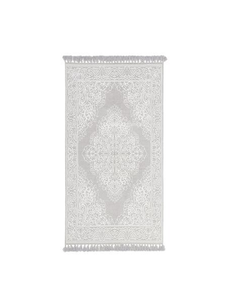 Tappeto in cotone tessuto a mano Salima, 100% cotone, Grigio chiaro, bianco crema, Larg. 70 x Lung. 140 cm (taglia XS)