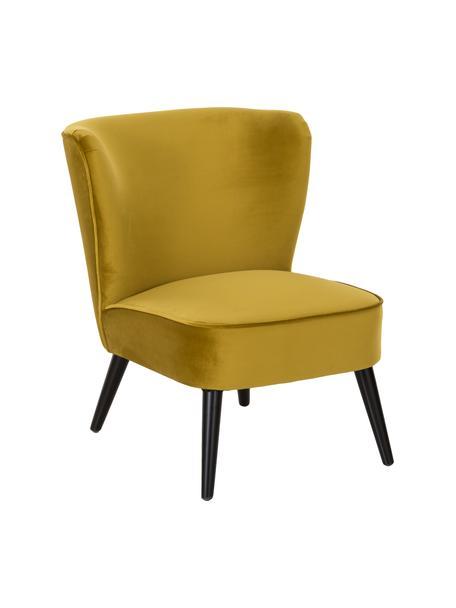 Fluwelen cocktail fauteuil Robine in olijfgeel, Bekleding: fluweel (polyester), Poten: grenenhout, gelakt, Fluweel Olivgelb, B 63 x D 73 cm