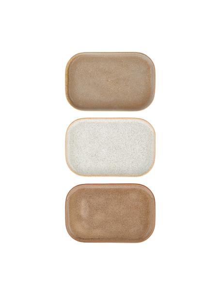Handgemachtes Servierplatten Addison B 15 x L 23 cm, 3er-Set, Steingut, Beige, Weiß, B 15 x T 23 cm