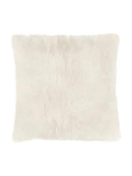Schaffell-Kissenhülle Oslo in Creme, glatt, Vorderseite: 100% Schaffell, Rückseite: Leinen, Cremeweiss, 40 x 40 cm