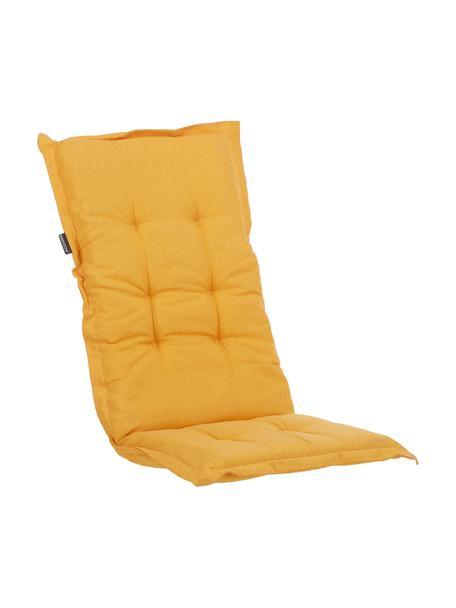 Einfarbige Hochlehner-Stuhlauflage Panama in Gelb, Bezug: 50% Baumwolle, 45% Polyes, Gelb, 50 x 123 cm