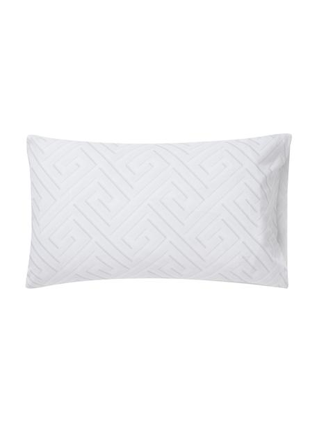 Fundas de almohada de satén Atina, 2uds., Algodón satinado, Blanco, gris claro, An 50 x L 80 cm