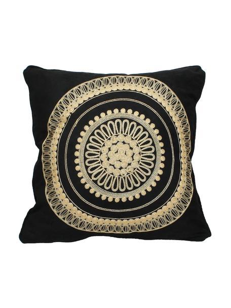 Cuscino nero con ricamo oro e imbottitura Tina, 80% cotone, 20% poliestere, Nero, beige, Larg. 45 x Lung. 45 cm