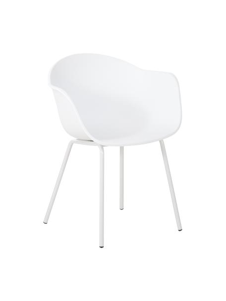 Sedia con braccioli con gambe in metallo Claire, Seduta: materiale sintetico, Gambe: metallo verniciato a polv, Bianco, Larg. 60 x Prof. 54 cm