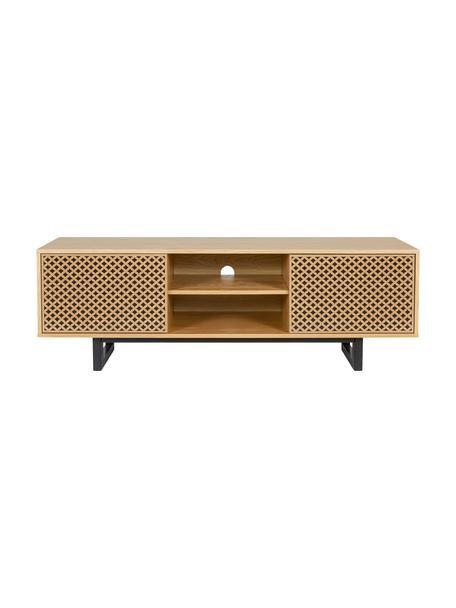 TV-Lowboard Camden mit Türen und Eichenholzfurnier, Füße: Birkenholz, lackiert, Eichenholz, Schwarz, 150 x 50 cm