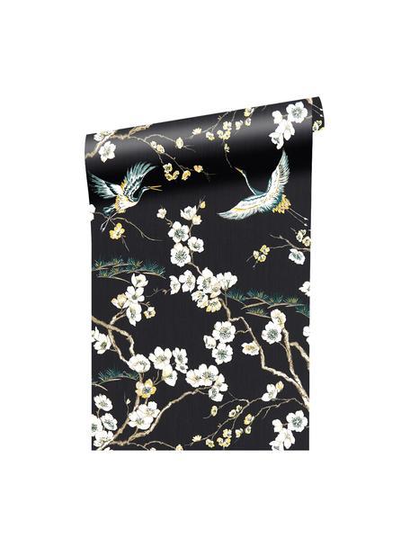 Tapete Japanese Flowers, Vlies, Schwarz, Weiß, Blau, Gelb, 52 x 1005 cm