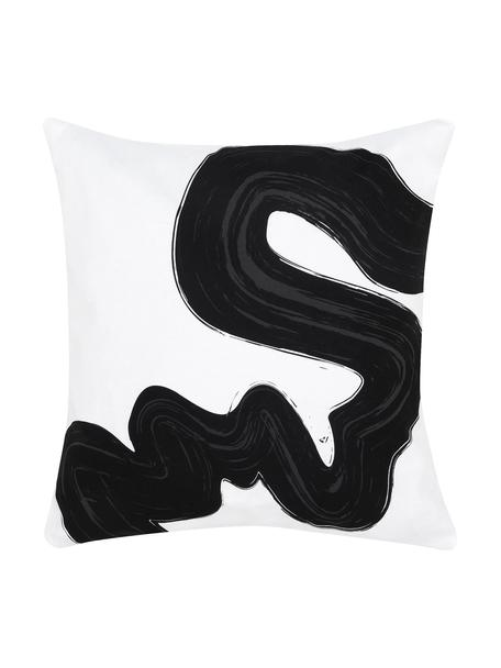 Poszewka na poduszkę Brush, Bawełna, Czarny, biały, S 40 x D 40 cm