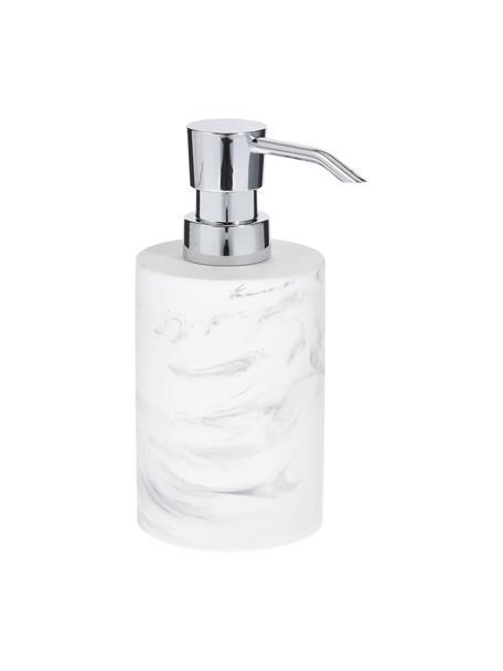 Dosificador de jabón Swan, Recipiente: plástico (poliresina), Dosificador: plástico (ABS), Recipiente: blanco, veteado Dosificador: plateado, Ø 7 x Al 17 cm
