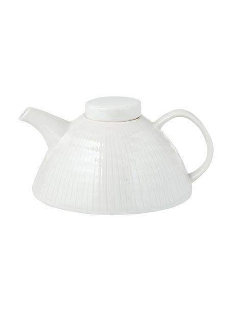 Handgemachte Teekanne Copenhagen mit feinen Streifen, Steingut, Elfenbein mit feinen hellbeigen Streifen, 1 L