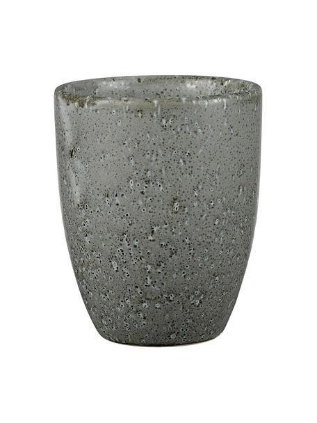 Keramische beker Stone met gespikkeld glazuur, 2 stuks, Geglazuurd keramiek, Grijs, Ø 8 x H 10 cm