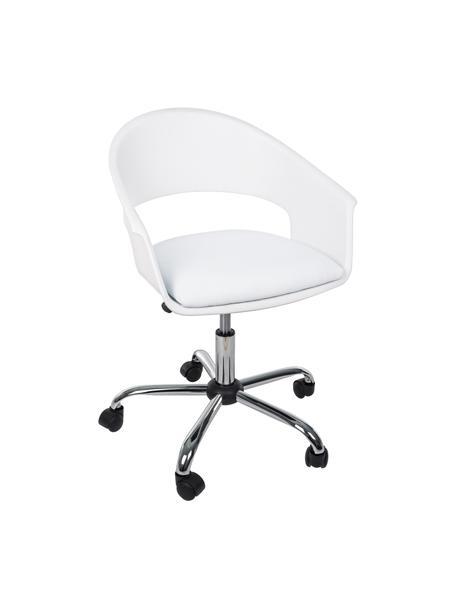 Bürodrehstuhl Wells, höhenverstellbar, Sitzschale: Kunststoff, Sitzfläche: Kunstleder, Gestell: Metall, verchromt, Rollen: Kunststoff, Weiss, B 50 x T 58 cm