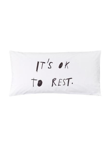 Poszewka na poduszkę z perkalu Rest od Kery Till, 2 szt., Biały, czarny, S 40 x D 80 cm