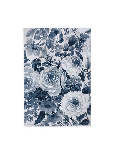 Teppich Peony mit Blumenmuster, 100% Polypropylen, Blau, Cremefarben, B 200 x L 290 cm (Größe L)
