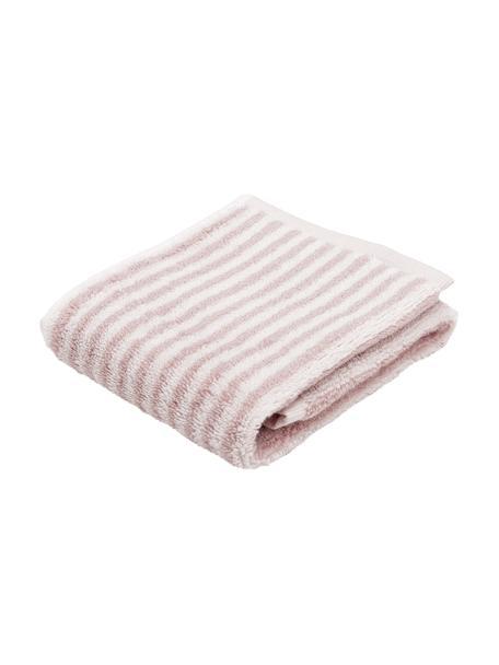 Gestreepte handdoek Viola, 100% katoen, middelzware kwaliteit, 550 g/m², Roze, crèmewit, Gastendoekje