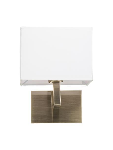 Wandlamp Lina, Lampenkap: textiel, Wit, messingkleurig, B 20 cm
