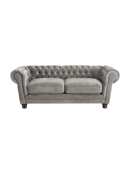 Fluwelen chesterfield bank Sally (2-zits), Bekleding: 100% polyester, Poten: massief hout, gelakt beuk, Frame: houten basisframe, Fluweel grijs, 203 x 79 cm