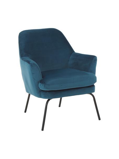 Fotel wypoczynkowy z aksamitu Chisa, Tapicerka: poliester (aksamit) Dzięk, Nogi: metal malowany proszkowo, Aksamitny morski granat, S 68 x G 73 cm