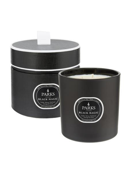 3-lonts-geurkaars Black Magic (cederhout, vetiver & patchouli), Houder: glas, Zwart, crèmekleurig, Ø 12 x H 11 cm