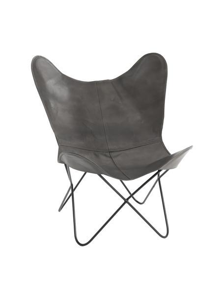 Fotel wypoczynkowy ze skóry Butterfly, Tapicerka: skóra, Stelaż: metal lakierowany, Szary, S 56 x G 84 cm