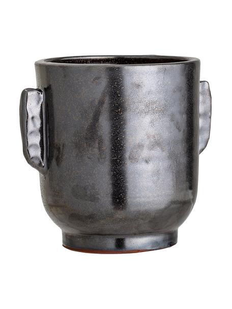 Macetero artesanal Misa, Terracota, Negro, Ø 18 x Al 20 cm