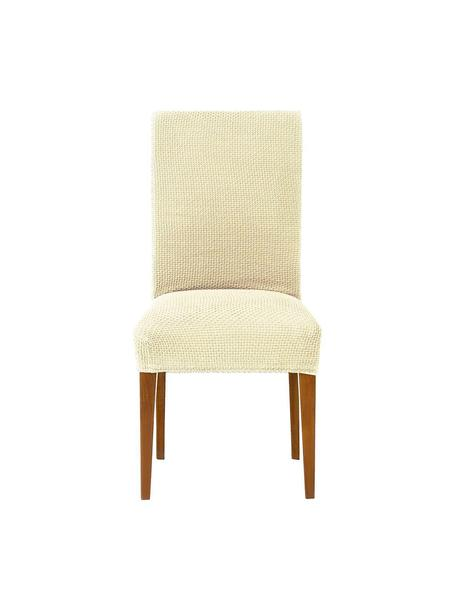 Fundas para silla Cora, 2 uds., 55% poliéster, 30% algodón, 15% elastomero, Beige, An 40 x Al 55 cm