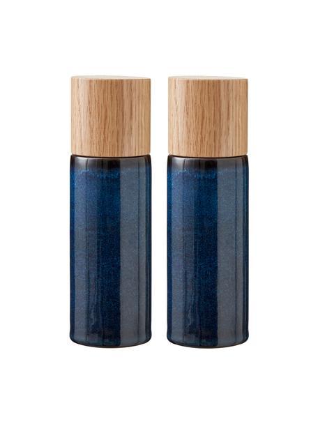 Salero y pimientero de gres Bizz, 2pzas., Recipiente: gres, Grinder: cerámica, Azul oscuro, marrón, madera, Ø 5 x Al 17 cm