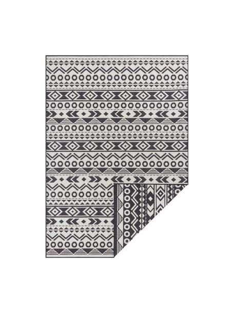 Dubbelzijdig in- en outdoor vloerkleed Baha met ethnopatroon, 100% polypropyleen, Zwart, lichtbeige, B 80 x L 150 cm (maat XS)