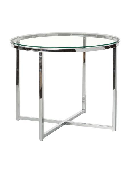 Stolik pomocniczy ze szklanym blatem Matheo, Stelaż: metal chromowany, Blat: szkło hartowane, Transparentny, metal chromowany, Ø 55 x W 45 cm