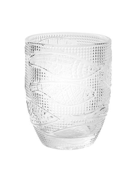 Wassergläser Fish mit Relief, 6er-Set, Glas, Transparent, Ø 9 x H 10 cm
