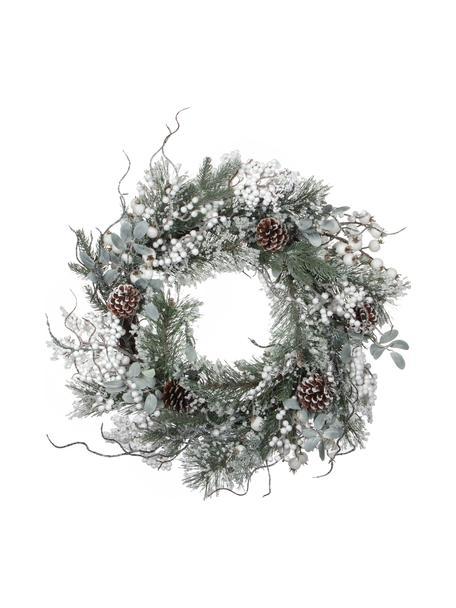 Künstlicher Weihnachtskranz Hardy, Kunststoff, Grün, Weiß, Silberfarben, Ø 50 cm