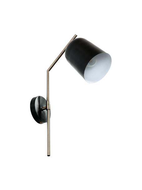 Wandleuchte Pryia mit Stecker, Lampenschirm: Metall, pulverbeschichtet, Gestell: Stahl, Schwarz, 15 x 54 cm