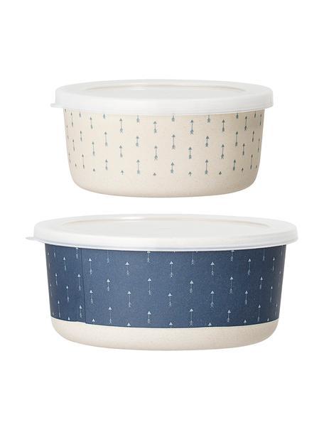 Opbergpottenset Palimbu, 2-delig, Bamboehout, maïs, melamine, hout, polyresin, Blauw, wit, Set met verschillende formaten