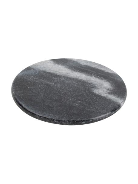 Marmor-Untersetzer Aster, 4 Stück, Marmor, Schwarz, marmoriert, Ø 10 x H 1 cm