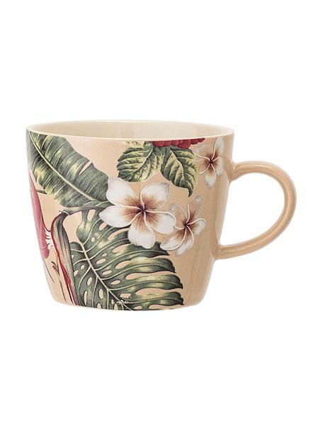 Kaffeetassen Aruba mit tropischem Motiv, 2 Stück, Steingut, Cremeweiß, Grün, Rot, Ø 10 x H 8 cm