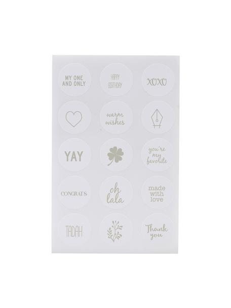Set de pegatinas Mixa, 90pzas., Papel, Blanco, verde salvia, An 10 x Al 15 cm
