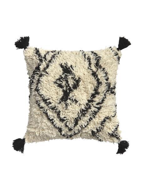 Federa arredo boho con nappe Safro, 100% cotone, Nero, color crema, Larg. 45 x Lung. 45 cm