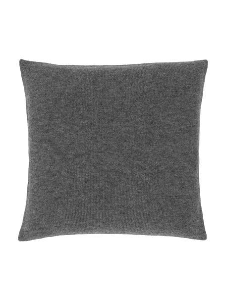 Funda de cojín de cachemira Viviana, 70%cachemira, 30%lana merino, Gris oscuro, An 40 x L 40 cm