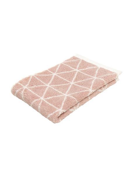 Dubbelzijdige handdoek Elina met grafisch patroon, 100% katoen, middelzware kwaliteit, 550 g/m², Roze, crèmewit, Gastendoekje